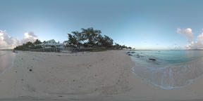360 VR Ocean view and coastline with houses in Mauritius Filmmaterial