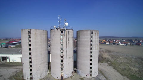 old farm silo with transmitter aerial shots Footage