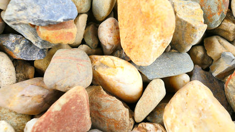 Old stony pavement from natural gravel, dry rounded stones, Traditional building Live Action