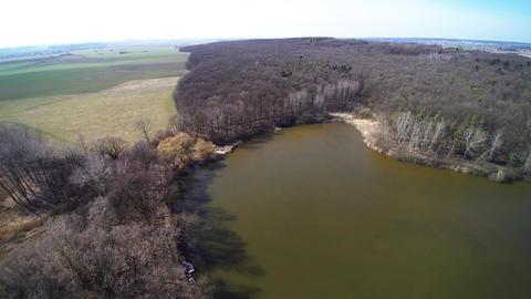 aerial view autumn pond Footage