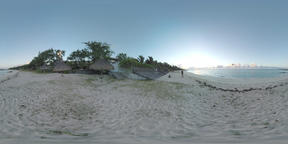 360 VR Ocean coast with houses and man with drone, Mauritius Filmmaterial