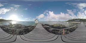 360 VR Pier, beach line and boats in water. Mauritius scene ビデオ