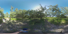 360 VR Family of tourists walking in green woods of Mauritius Archivo