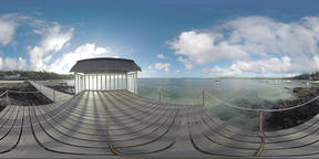 360 VR Mauritius coastline and ocean. View from the pier ビデオ