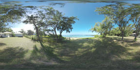 360 VR Guest houses area with view to the ocean, Mauritius Filmmaterial