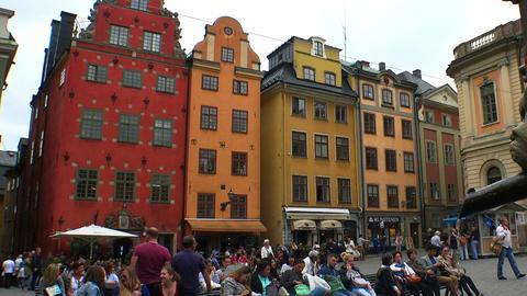Stortorget Public Square in Stockholm. Gamla stan. Sweden Footage