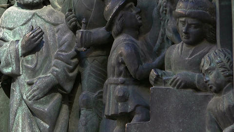 Bas-relief of the king and his subjects in Stockholm. Sweden Live Action