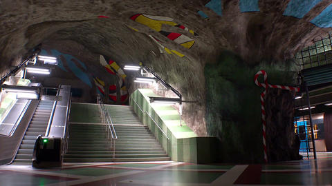 Kungstradgarden. Metro station. Art in the subway. Stockholm. Sweden Footage