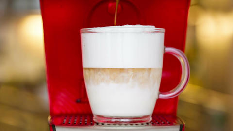 closeup of latte macchiato preparation Footage