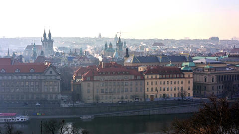 Panoramic view of Prague cityscape Filmmaterial