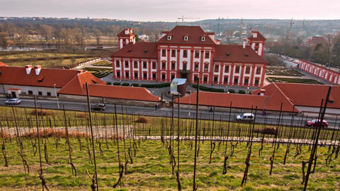 panoramic view on the garden and Troja castle, Prague