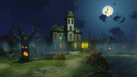 Scary haunted mansion at misty night cinemagraph Animation