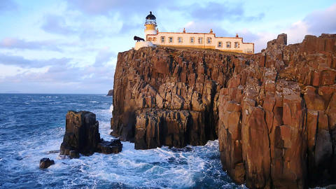 Beautiful Neist Point lighthouse on west coast of the Isle of Skye in Scotland d Footage