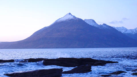 Evening in Elgol bay on west coast of the Isle of Skye in Scotland during an win 영상물