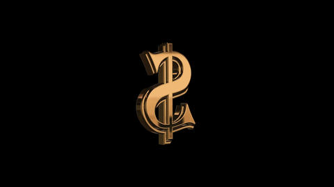 Golden dollar symbol rotation Footage