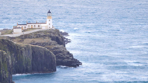 Beautiful Neist Point, thin spit of land. West coast of the Isle of Skye in Scot Footage
