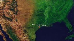 Houston - United States zoom in from space Animation