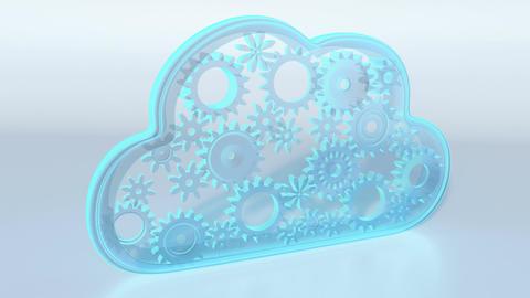 Cloud computing theme loop - 3D render Animation
