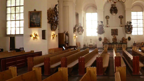 Interiors of church. Stockholm. Sweden Footage