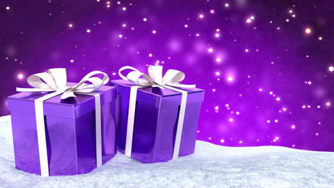 Christmas gifts in snow on bokeh purple background. Seamless loop. 3D render Animation