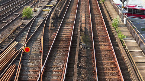 Railroad tracks, rails in Stockholm. Sweden Footage