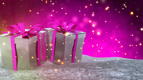 Christmas gifts in snow on pink bokeh background. Seamless loop. 3D render Animation