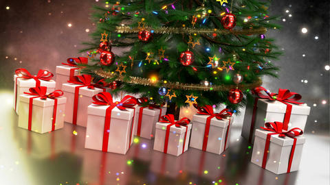 Christmas gifts with tree on colorful bokeh background. Seamless loop. 3D render Animation