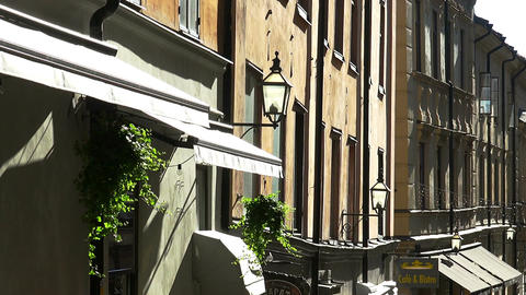 Ancient narrow street in central Stockholm. Old town GIF