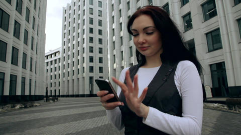 The woman with the phone is overwritten Footage