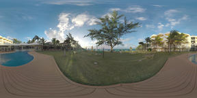 360 VR EvaZion resort area with hotels and outdoor swimming pool, Mauritius Filmmaterial