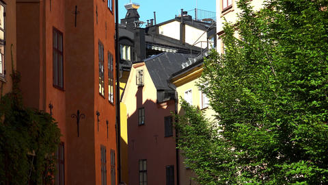 Roofs of old houses in the center of Stockholm. Old city. Sweden. 4K Footage