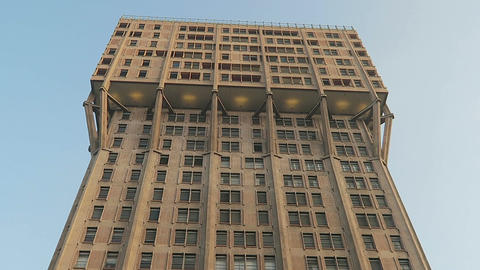 Milan, Italy Torre Velasca iconic skyscraper ground view Footage