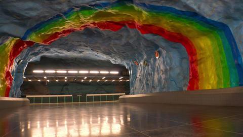 Stadion. Metro station. Art in the subway. Stockholm. Sweden. 4K Footage