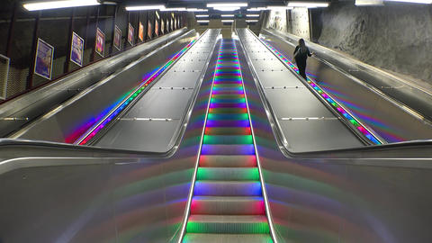 Escalator with multicolored lights in Stockholm. Sweden. 4K GIF