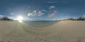 360 VR Scene with blue ocean, beach and cottage on the coast in Mauritius Archivo