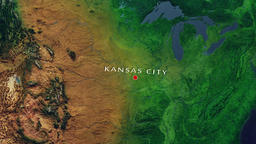 Kansas City - United States zoom in from space Animation