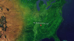 Nashville - United States zoom in from space Animation