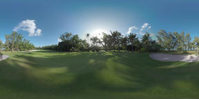 360 VR Empty golf course on Mauritius Island Footage