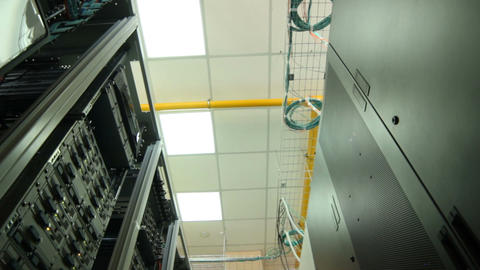 Closeup Data Center Storage with Ceiling Lamp Footage