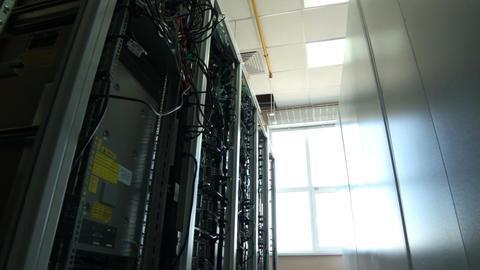 Closeup Camera Moves along Data Center Storage Footage
