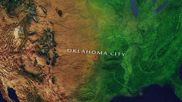 Oklahoma City - United States zoom in from space Animation