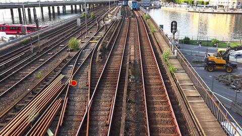 Subway train in a center of Stockholm, Sweden. 4K Footage