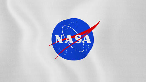 1080p Loopable: Flag With NASA Logo Waving in Wind Footage