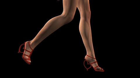 Lady In Red Shoes - Walk Loop - Side Angle - Alpha Channel Animation