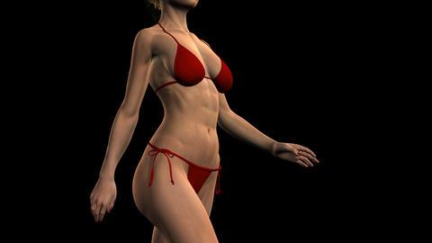 Lady In Red Bikini - Scarlet - Walk Loop - Side Closeup - Alpha Channel Animation