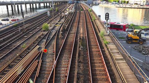 Railroad tracks, rails in Stockholm. Sweden. 4K Footage