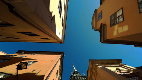 Ancient narrow street in central Stockholm. Old town. 4K