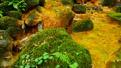 Stream water full of red ferric sediments. Cascades in stream, mossy boulders an ビデオ