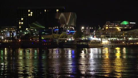 Central Station in Stockholm. Sweden. 4K. Night, lights Footage