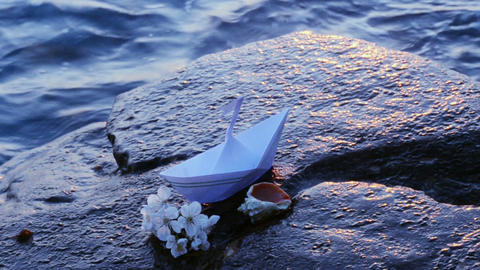 Paper boat, seashells and a sprig of cherry blossoms on the seashore Footage